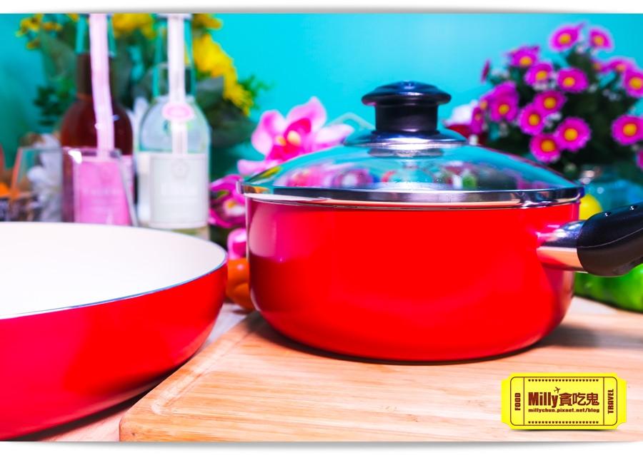 固鋼晶紅白陶瓷不沾鍋具10003